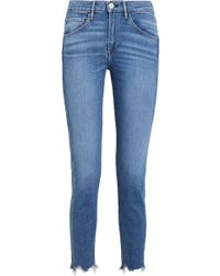 3x1 - W3 Cropped Frayed High-rise Straight-leg Jeans - Lyst