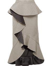 Alice + Olivia | Alessandra Ruffled Striped Cotton-blend Midi Skirt | Lyst