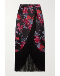 Taller Marmo El Pareo Fringed Duchesse Satin-jacquard Midi Skirt - Black