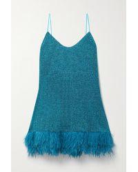 Oséree Lumière Feather-trimmed Stretch-lurex Mini Dress - Blue