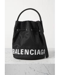 Balenciaga Sac Seau En Toile À Broderies Wheel - Noir