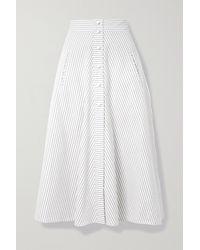 Anna Mason Liv Striped Cotton Midi Skirt - White