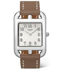 Hermès Cape Cod 23 Mm Kleine Uhr Aus Edelstahl Mit Lederarmband - Mettallic