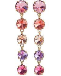 Roxanne Assoulin Drip Drop Gold-tone Swarovski Crystal Clip Earrings - Pink