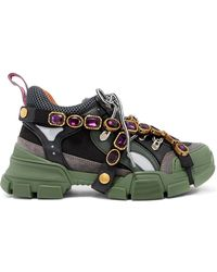 Gucci - Flashtrek Embellished Logo-embossed Mesh, Leather And Suede Trainers - Lyst