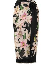 Dolce & Gabbana Floral-print Cotton-voile Pareo - Black