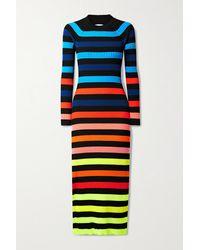 Christopher John Rogers Open-back Striped Ribbed-knit Midi Dress - Yellow