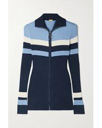 Dodo Bar Or Lee Striped Ribbed-knit Cardigan - Blue