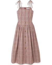 Rejina Pyo - Issy Checked Cotton Midi Dress - Lyst