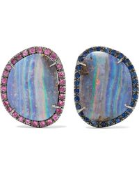 Kimberly Mcdonald - 18-karat Blackened White Gold, Opal And Sapphire Earrings White Gold One Size - Lyst