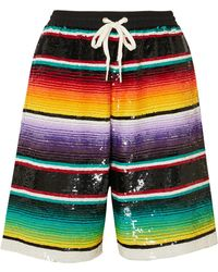 Ashish - Striped Sequined Cotton Shorts - Lyst