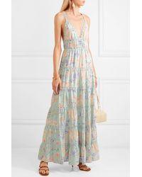 Alice + Olivia Karolina Crochet-trimmed Floral-print Chiffon Maxi Dress - Blue