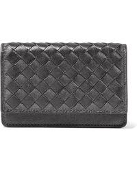 Bottega Veneta - Metallic Intrecciato Leather Cardholder - Lyst