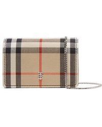 Burberry Checked Canvas And Leather Shoulder Bag - Brown