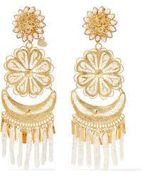 Mercedes Salazar - Fiesta Tasselled Gold-plated Pearl Clip Earrings - Lyst