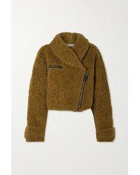 Philosophy Di Lorenzo Serafini Oversized Cropped Faux Shearling Jacket - Green