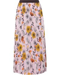 Maje - Pleated Floral-print Crepe De Chine Midi Skirt - Lyst