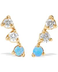 Wwake - Three Step 14-karat Gold, Diamond And Opal Earrings - Lyst