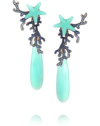 Lydia Courteille - 18-karat White Gold, Sapphire And Agate Earrings - Lyst