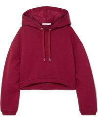 T By Alexander Wang - Dence Cropped Cotton-blend Hoodie - Lyst