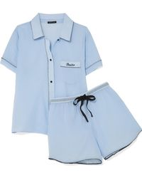 Morgan Lane - Bestie Embroidered Cotton-gauze Pajama Set - Lyst