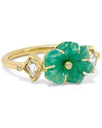 Brooke Gregson - Rivera Flower 18-karat Gold, Emerald And Diamond Ring - Lyst