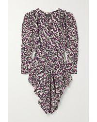 Isabel Marant - Margaretia Ruched Printed Silk-blend Crepe De Chine Mini Dress - Lyst