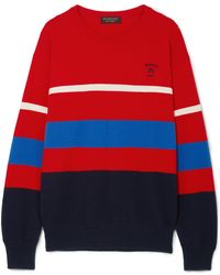 Burberry - Embroidered Striped Wool Jumper Red Medium - Lyst