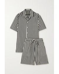 Olivia Von Halle Emeli Striped Cotton And Silk-blend Pyjama Set - Black