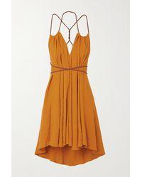 Caravana + Net Sustain Mahahual Minikleid Aus Baumwolle Mit Lederbesatz - Orange