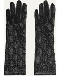 Gucci Embroidered Tulle Gloves - Black