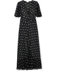 RIXO London Zhandra Floral-print Silk Crepe De Chine Midi Dress - Black