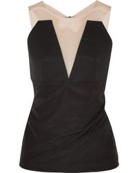 Rick Owens - Tulle-paneled Twill And Stretch-jersey Top - Lyst