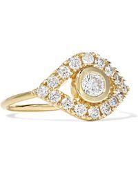 Sydney Evan - Evil Eye 14-karat Gold Diamond Ring Gold 6 - Lyst