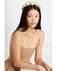Dolce & Gabbana Gold-tone, Faux Pearl And Crystal Headband - White
