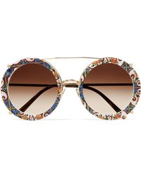 Dolce & Gabbana - Round-frame Printed Acetate And Gold-tone Convertible Sunglasses Gold One Size - Lyst
