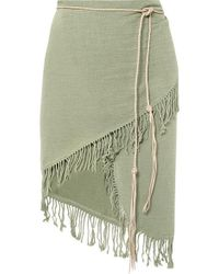 Caravana Tuzuk Leather-trimmed Fringed Cotton-gauze Pareo - Green