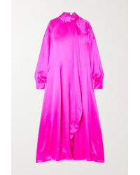 Christopher John Rogers Tie-detailed Pintucked Neon Silk-charmeuse Dress - Pink