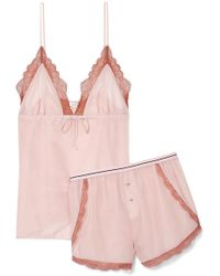 Love Stories - Lotty And Matt Lace-trimmed Cotton And Silk-blend Pyjama Set - Lyst