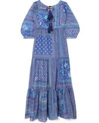 Anjuna Tasselled Sequined Printed Cotton Maxi Dress - Blue