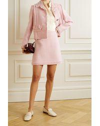 Tory Burch Frayed Wool-blend Tweed Mini Skirt - Pink