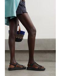 Stuart Weitzman Calypso Braided Leather Slingback Platform Sandals - Black