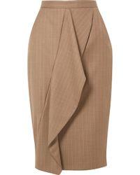 Max Mara - Draped Pinstriped Wool-blend Pencil Skirt - Lyst