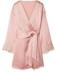 La Perla - Maison Lace-trimmed Silk-blend Satin Robe - Lyst