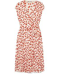 Diane von Furstenberg Goldie Floral-print Crepe Wrap Dress - Red