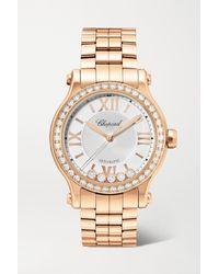 Chopard Montre En Or Rose 18 Carats (750/1000) Et Diamants Happy Sport Automatic, 33 Mm - Métallisé