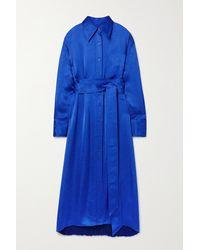 Christopher John Rogers Belted Pleated Satin Shirt Dress - Blue