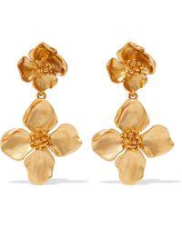 Oscar de la Renta - Flower Drop Clip Earrings - Lyst