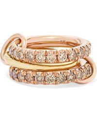Spinelli Kilcollin - Set Of Three 18-karat Yellow And Rose Gold Diamond Rings Gold 7 - Lyst