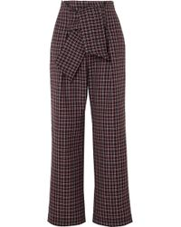 Paper London - Twin Checked Wool-blend Wide-leg Trousers - Lyst